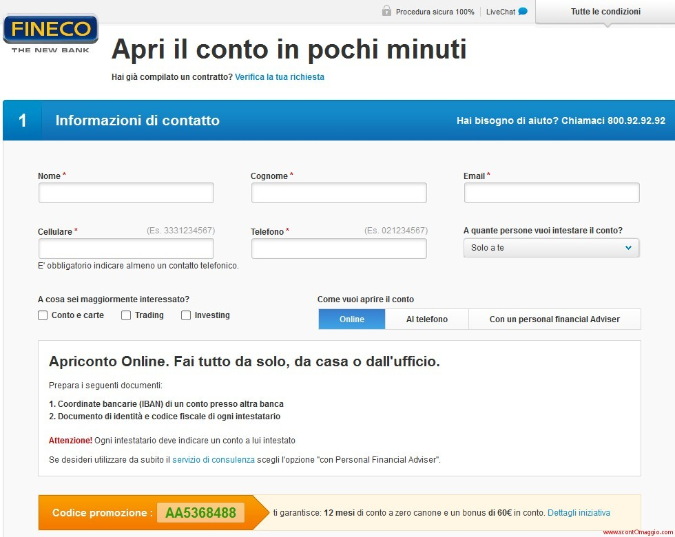 omaggio di 60 euro sul conto corrente
