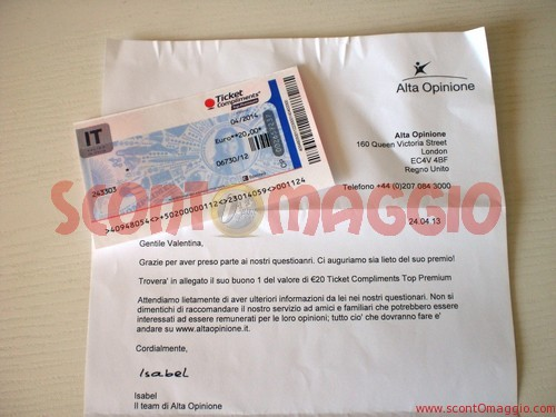 alta opinione ticket compliments