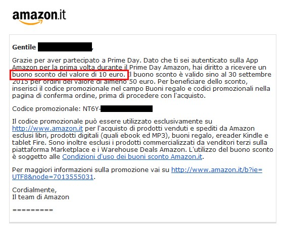 Buoni amazon da 10 gratis in arrivo dal prime day for Codici regalo amazon gratis