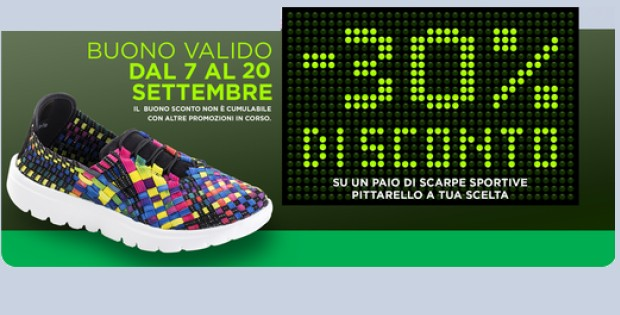 26942eda06887 Buono sconto Pittarello 30% sulle scarpe da ginnastica - scontOmaggio