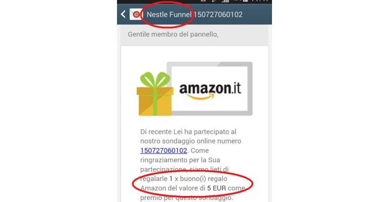 Buoni amazon da 5 euro dal sondaggio nestl scontomaggio for Buoni omaggio amazon
