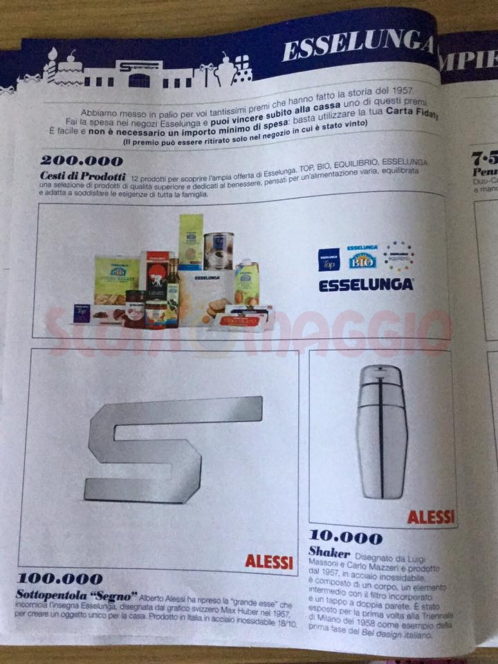 Concorso esselunga compie 60 anni vinci fiat 500 ed for Esselunga catalogo 2017