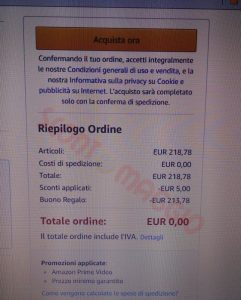 amazon totale ordine zero