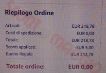 amazon totale ordine zero fb