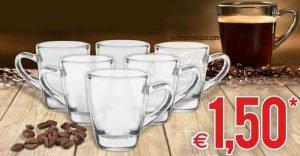 6 tazzine da caffé in vetro
